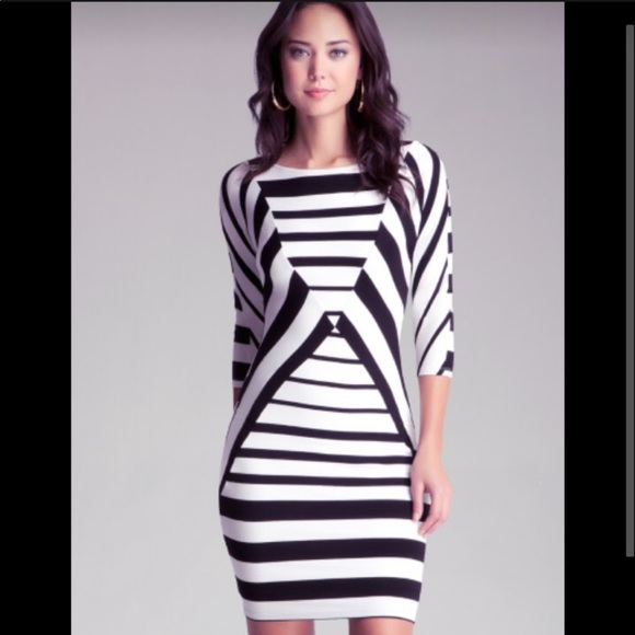 Bebe Dresses Blackwhite Striped Dress Poshmark